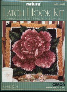 Natura Latch Hook Rug Kit Framed Rose by Caron by ToppyToppyKnits