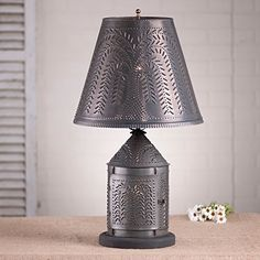 Fireside Lamp with Chisel Shade in Blackened Tin - Rustic Primitive Farmhouse Lighting - Vintage Farmhouse and Rustic CottageHome Decor Curtain Lights, Ceiling Lights, Ceiling Fans, Antique Lanterns, Farmhouse Lighting, Lamp Sets, Vintage Lighting, Home Lighting, Rustic Style