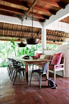 Just the sound of it Bali. And then, A home in Bali Induces a deep longing For places far away And for your own li. Bali House, Outdoor Dining, Dining Area, Outdoor Spaces, Indoor Outdoor, Dining Table, Furniture Care, Modern Furniture, Furniture Ideas