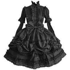 Partiss Women Long Sleeves With Bowknot Classic Lolita Fancy Dress, XS, Black