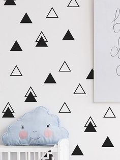 Geometric wall decal Triangle wall decal Triangle by StudioPicco Simple Wall Art, Diy Wall Art, Easy Wall, Wall Decor, Tape Wall Art, Wall Stickers Triangles, Triangle Wall, Kids Wall Decals, Nursery Stickers