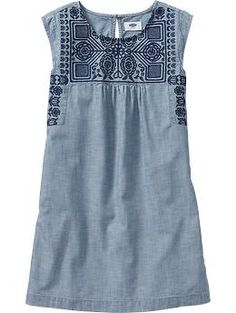 Girls Embroidered Chambray Shift Dresses | Old Navy
