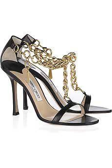 Black High Heel Evening Sandals With Golden Chain