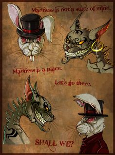 Alice Madness returns fanart. Some colored sketch of the Cheshire cat and the White Rabbit, and text from the launch trailer. It was so long ago I creatd something for AMR... I'm already working on...