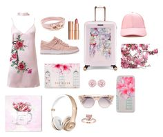 """""""Shy but slaying it🌸🌷🌺"""" by amarysbeth-com on Polyvore featuring WithChic, NIKE, Ted Baker, Emilio!, Salvatore Ferragamo, Charlotte Tilbury, Jimmy Choo, Oliver Gal Artist Co., Marmont Hill and Forever 21"""