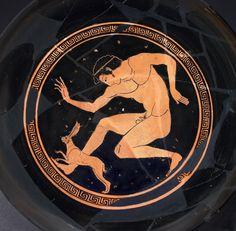 Proto-Panaetian Group (BCE), British Museum, London E46 (previous); Antikenmuseum d. Universitat Leipzig, Leipzig (525-475, 510-500 BCE; excavated at Cerveteri, Etruria, Italy). Red-figure cup. Tondo.