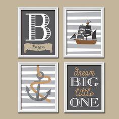 Nautical Pirate Boy Wall Art Nursery Canvas Artwork Child Anchor Boat Ocean Sea Dream Big Name Monogram Stripe Set of 4 Prints Decor Child