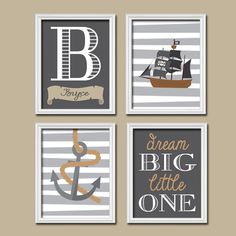 Nautical Pirate Boy Wall Art Nursery Canvas Artwork Child Anchor Boat Ocean Sea Dream Big Name Monogram Stripe Set of 4 Prints Decor Child