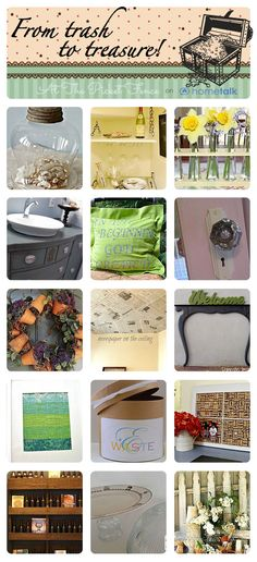 Round up of Trash to Treasure projects from @Hometalk curated by At The Picket Fence.