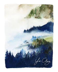 Forest in Indigo and Green Watercolor Archival por YaoChengDesign