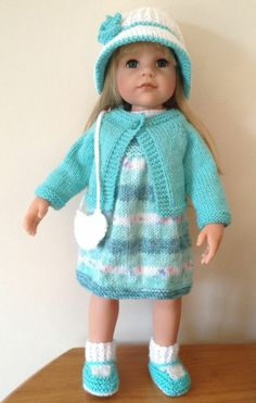 AMERICAN GIRL DOLL GOTZ HANNAH DESIGNAFRIEND 8PC HAND KNITTED OUTFIT. For sale on eBay till Sunday 16 March