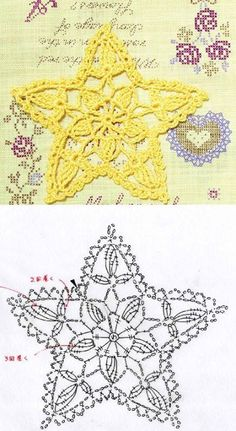 (notitle) Learn the basics of how to needlecraft (generic term), starting at the very first. Crochet Snowflake Pattern, Crochet Motif Patterns, Crochet Symbols, Crochet Stars, Crochet Snowflakes, Thread Crochet, Crochet Flowers, Crochet Stitches, Blanket Crochet