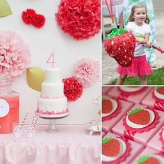 "For her daughter Lou's fourth birthday party, Krista Salmon of popular design blog Kiki's List was faced with a challenge: how to make Lou's requested theme — Strawberry Shortcake — appeal to both the birthday girl and her own superchic design sense. ""I tried to incorporate as many tasteful strawberries as possible, but the overall theme tying everything together was pink. Perfect for a party full of 4-year-old girls."""