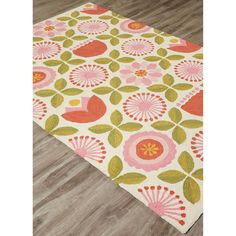 Youth Floral & Leaves Pattern Pink/Green Polyester Area Rug (5x7.6)