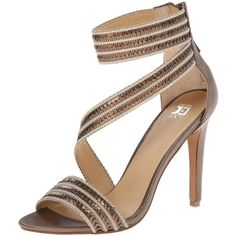 Joe's Jeans Women's Nile Dress Sandal featuring polyvore, women's fashion, shoes, sandals, metallic sandals, joes jeans shoes, open back shoes, sequin sandals and strappy sandals