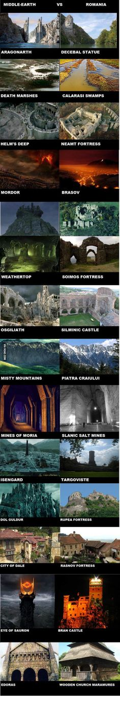 Middle Earth and Romania. I would point out, though, that the Decebal statue was created after Tolkien died.