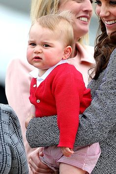 Red Letter Day All eyes were on Prince George when he showed up at the airport in a bright red sweater and red-and-white striped shorts on April 25, the last day of the royal tour of New Zealand and Australia. Read more: http://www.usmagazine.com/celebrity-moms/pictures/kate-middleton-and-prince-william-meet-the-royal-baby-2013237/37663#ixzz35tW21Wdf Follow us: @usweekly on Twitter | usweekly on Facebook