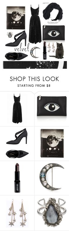 """Black velvet dress"" by nina453 ❤ liked on Polyvore featuring Undress, Kenzo, Roberto Cavalli, Lord & Berry, Judith Jack, WithChic and Alexander McQueen"