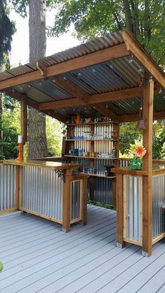 Comfortable Backyard Gazebo Design Ideas is part of Backyard pergola A gazebo conjures up memories of another time if moonlit strolls and long dialog on summer evenings were far more prevalent - Diy Outdoor Bar, Outdoor Kitchen Bars, Backyard Kitchen, Outdoor Kitchen Design, Outdoor Living, Outdoor Decor, Rustic Kitchen, Rustic Outdoor Kitchens, Outdoor Grill Area