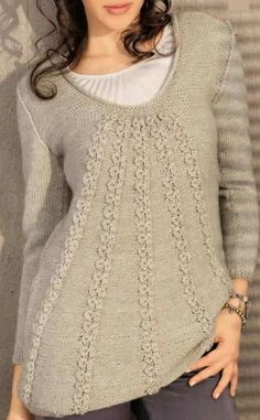 расклешенный женский пуловер спицами