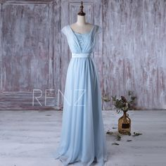 2016 Light Blue Bridesmaid Dress Long, Cap Sleeves Wedding Dress, Lace Square…