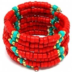 Abena's Coral Red and Turquoise Beaded Coil Wrap Bracelet - Only $42.95 — Fantasy Jewelry Box