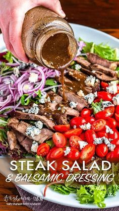 This steak salad recipe is a quick, delicious meal that's ready in minutes. The … This steak salad recipe is a quick, delicious meal that's ready in minutes. The balsamic dressing is packed with flavor and the perfect pairing. Steak Salad Dressing, Salad With Balsamic Dressing, Salad With Steak, Salads With Meat, Salads For Dinner, Dressing Recipe, Grilled Steak Salad, Meals With Steak, Flank Steak Salad