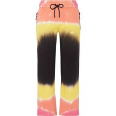 Off-WhitePrinted Tie-dyed French Cotton-terry Track Pants (€355) ❤ liked on Polyvore featuring activewear, activewear pants, yellow, cotton activewear, track pants and cotton track pants
