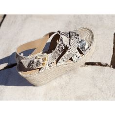 The Alenni espadrille features crisscrossing double straps counterbalanced by a slingback ankle strap, lifted on a retro-inspired espadrille platform. Fisher, Ankle Strap, Snake, Espadrilles, Neutral, Footwear, Nordstrom, Wedges, Sandals