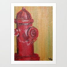 Fire Hydrant Art Print by JessWatson - $15.60 It would be cute to put a framed print or a canvas of a hydrant down by the floor.