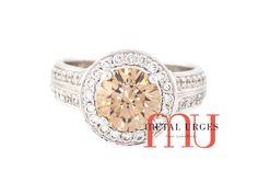 Modern cluster Australian Argyle champagne diamond engagement ring in 18ct white gold. Custom made in Hobart.