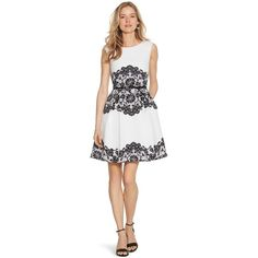 White House Black Market Womens Sleeveless Fit and Flare Lace Print... ($90) ❤ liked on Polyvore featuring dresses, sleeveless dress, white strappy dress, lacy white dress, white sleeveless dress and print dress
