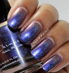 Myth You Lots Multichrome Linear Holographic Nail Polish 0.5oz-best in 3 coats (optional 1 coat over black) w/top coat, Does NOT contain Toluene, Formaldehyde, Dibutyl Phthalate, flat brush for easy application, full sized bottle, smooth tiny glitter, color shifts depending on angle of light: blues-*purple-red-bronze...esp. *indigo blue