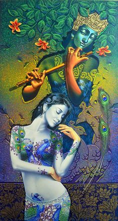 By Reena kapoor A Soulful Love of Radha Krishna Lord Krishna Images, Radha Krishna Pictures, Radha Krishna Love, Krishna Photos, Hare Krishna, Lord Krishna Wallpapers, Radha Krishna Wallpaper, Krishna Painting, Indian Art Paintings
