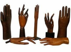 Unusual collection of seven century hand and glove models, with articulated jointed fingers, several mounted on bases. Show Of Hands, Art Populaire, Weird And Wonderful, Beautiful Things, Vintage Gloves, Heart Hands, Hand Art, Helping Hands, Folk Art