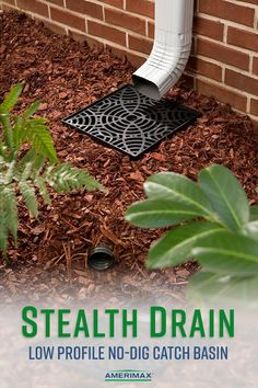Quickly remove damaging rainwater from your home with the Amerimax Stealth Dr. Gutter Drainage, Backyard Drainage, Landscape Drainage, Patio Drainage Ideas, Rock Drainage, Downspout Ideas, Home Landscaping, Landscaping With Rocks, Outdoor Projects