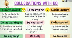 Common Verb Collocations in English. There are certain verbs that always go with certain nouns. We call this a collocation. Common Adjectives, Nouns And Adjectives, English Verbs, English Grammar, English Phrases, English Vocabulary, Break A Habit, English Collocations, Printables