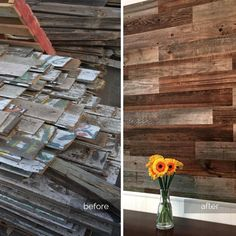 Our craftsmen worked hard to turn these fence boards to beautiful paneling, which was installed to create a rustic-inspired dining space. Shop the look today starting at only $11.95 per square foot; or, order a sample box for only $9.95!  #weekendwalls #reclaimedwood #rustic #diy #sustainable