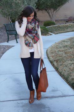 Zara Blanket Scarf, Gap Open Front Cardigan