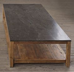 bluestone parsons coffee table - bluestone & reclaimed pine wood, mixed materials (looks similar to concrete).