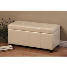 Warehouse of Tiffany Ariel Ivory Wood-and-Faux-Leather Storage Bench | Overstock.com Shopping - The Best Deals on Benches