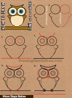 how to draw cartoon owls with word owl step by step drawing tutorial (Step Drawing Doodles) Word Drawings, Doodle Drawings, Easy Drawings, Animal Drawings, Doodle Art, Drawing Tutorials For Kids, Drawing For Kids, Art Tutorials, Drawing With Words