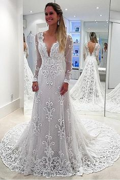 Deep V-Neck Court Train Long Sleeves Backless White Lace Wedding Dress TN0036