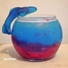 BLOOD IN THE WATER (SHARK WEEK) Cherry Pie Filling Gummy Bear Vodka Blue Curacao Blue Gatorade