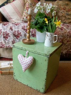 Vintage painted box from Lavender House Vintage ( Make two of these taller and put on either side of fireplace for storage.)