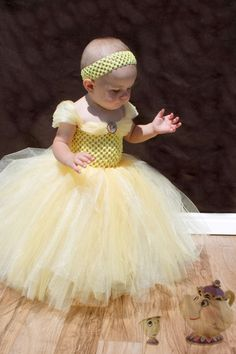 Belle inspired tutu dress Two shades of yellow with a belle bottle cap image.