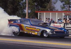 Tom Hoover, Minnesota's most decorated Funny Car driver, burns out in his Showtime Vega at the '74 Gatornationals