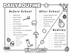 Download and printout your April daily routine sheet and have your little ones color them in in their favorite colors! Daily Routine Schedule, Routine Printable, Do Homework, Clean Shoes, Activity Sheets, Eat Breakfast, How To Make Bed, After School, Face Wash