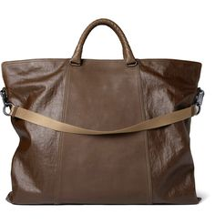 Coated-Linen and Leather Tote Bag - Bottega Veneta #womensbags