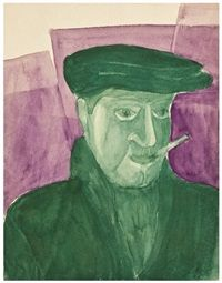 Man with a cigarette Sketch, verso by Vladimir I. Kozlinsky